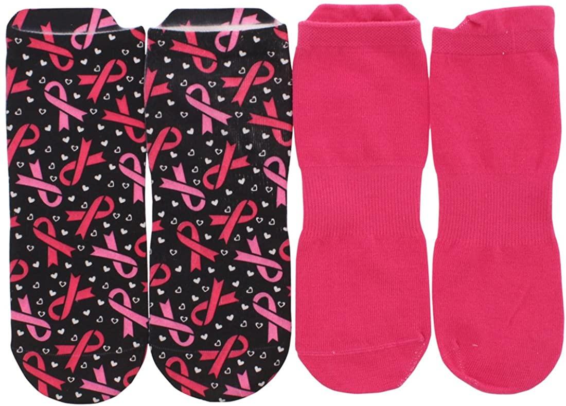Sof Sole Womens Breast Cancer Awareness Digital Design Two Pack Low Cut Socks Black M
