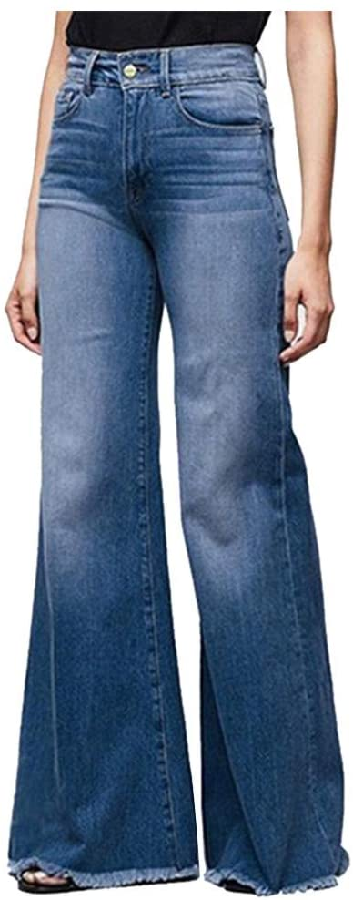 Women Hight Waisted Wide Leg Denim Jeans Stretch Slim Pants Length Jeans Trousers for Women