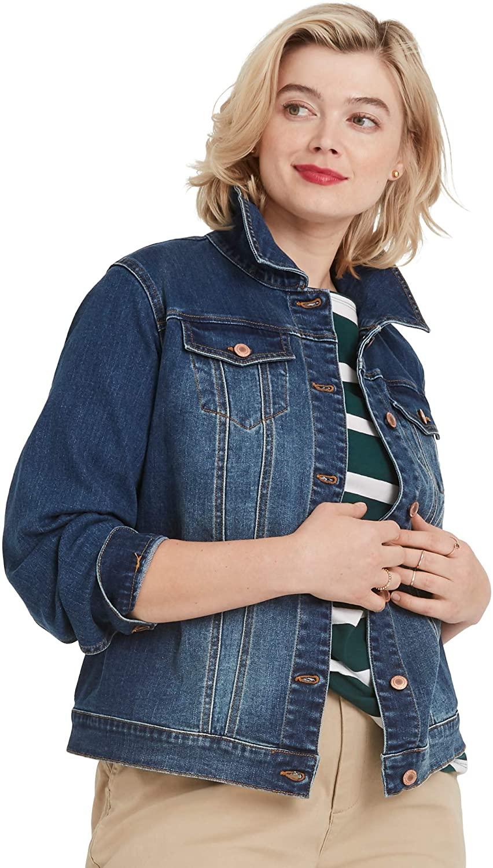 ellos Womens Plus Size Classic Denim Jacket
