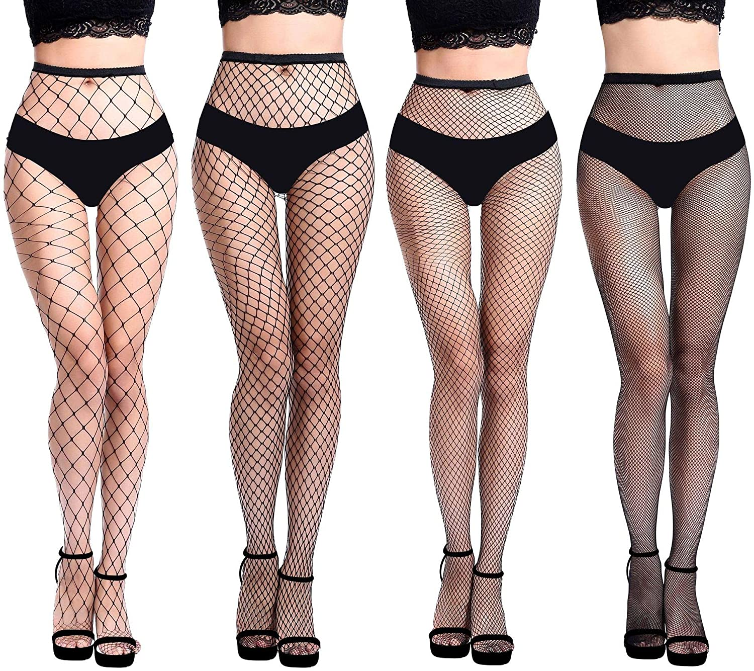 Refamaee High Waist Tights Thigh High Stockings Pantyhose Fishnet Stockings 4pcs