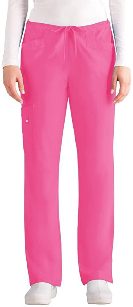 Grey's Anatomy Junior Fit 5 Pocket Midrise April Straight Leg Scrub Pant Island Pink, Large Tall