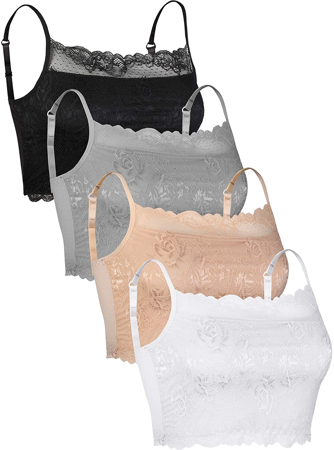 Trounistro 4 Pieces Lace Cami Half Lace Camisole Lace Half Bralette Lace Bralette Top Lace Tube Top Bra for Women Girls