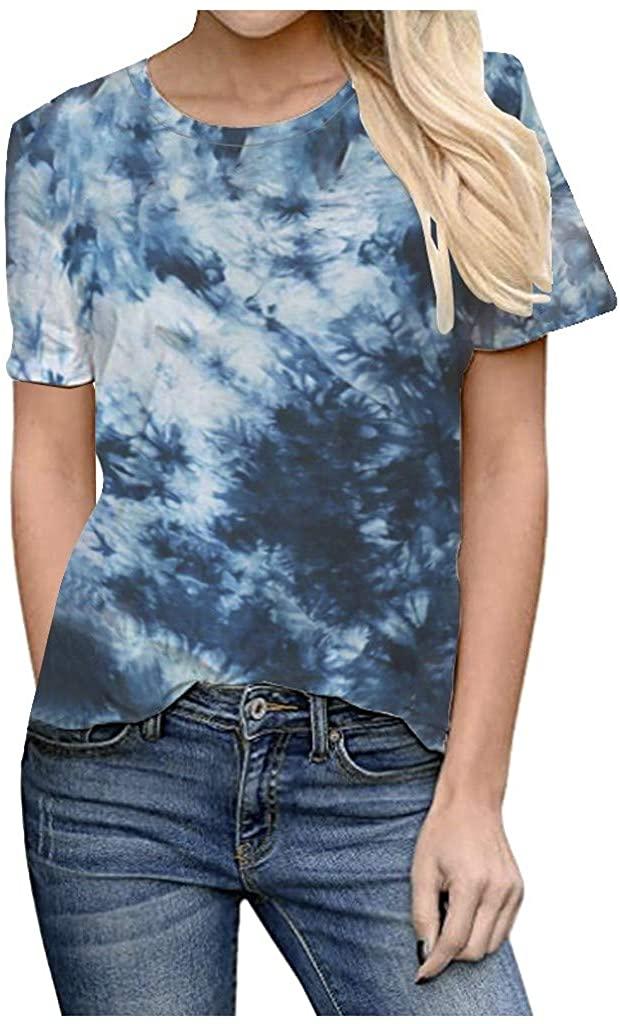 T Shirts for Teen Girls, Ulanda Women's Tie Dye Printed T Shirts Short Sleeve Graphic Tee Tops