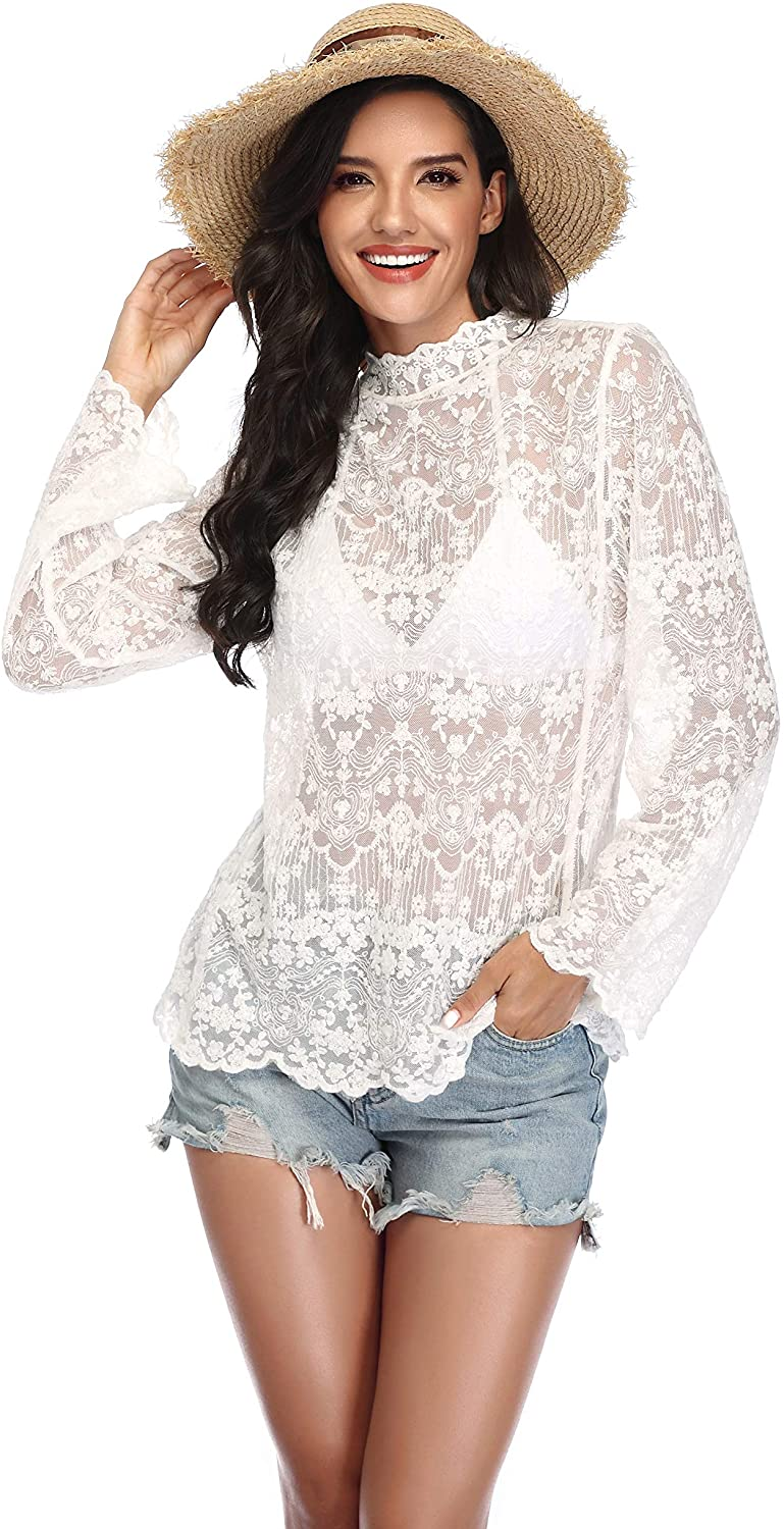 Women Swimwear Lace Bathing Suit Bikini Cover Up Long Sleeve Beachwear Pullover Sexy Robes for Lady