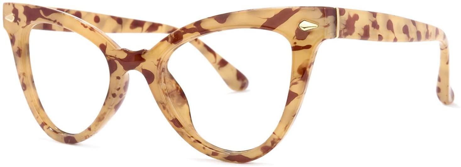 Voogueme Amber Cat Eye Blue Light Blocking Glasses for Women, Block UV Blue Light Anti Eyestrain Eyeglasses Maite OP02131-02