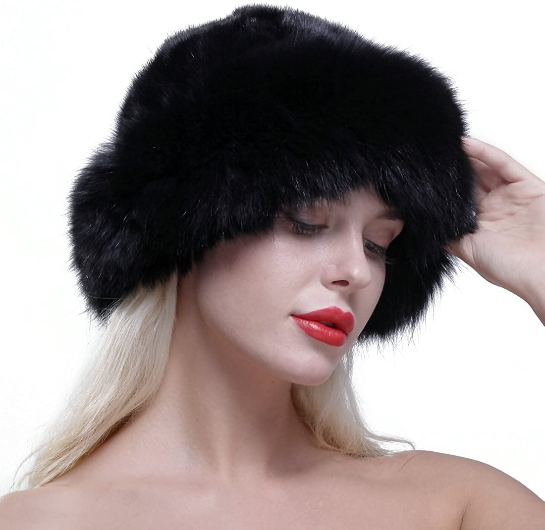 URSFUR Women's Real Fox Fur Roller Hat with Mink Top Multicolor