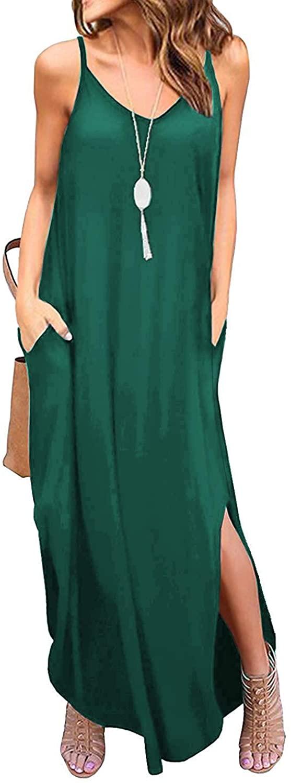 DUOSTICK Dresses for Women Work Casual Summer Beach Sleeveless Tank Top Long Maxi Dress - S, DarkGreen