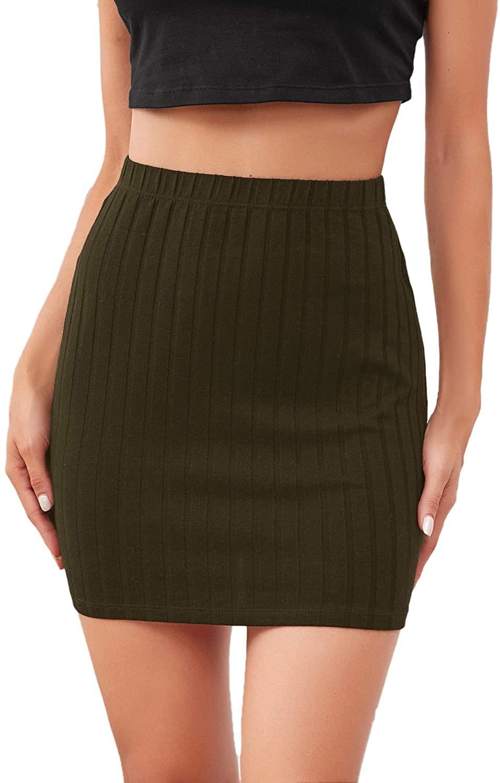 WDIRARA Women's High Waist Rib Knit Stretch Elegant Solid Bodycon Mini Skirt
