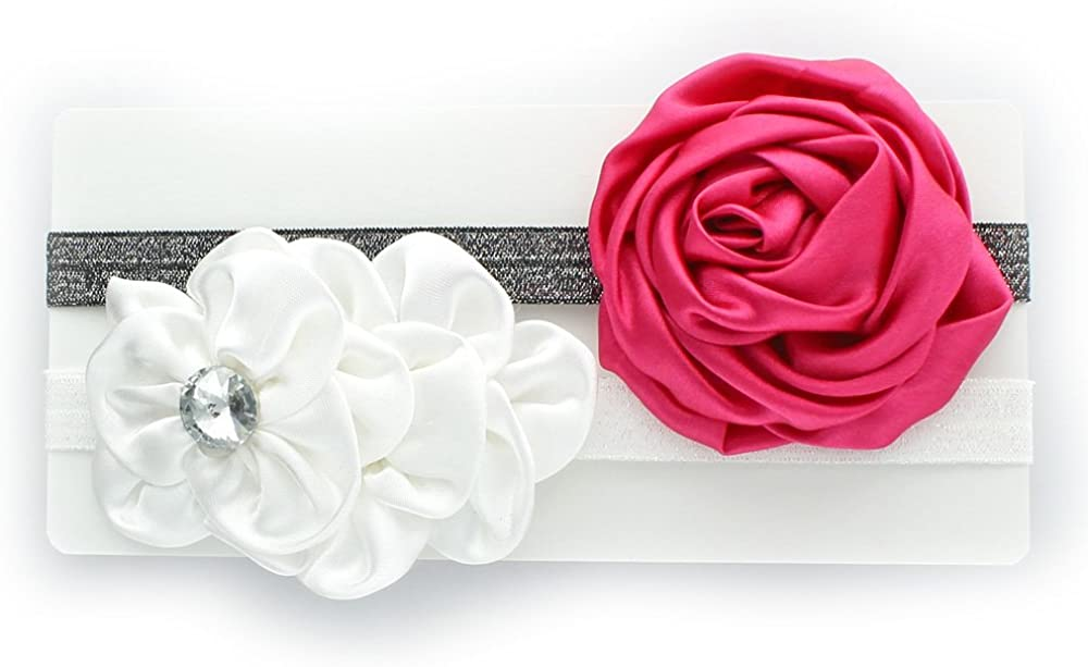 My Lello Toddler/Girl Flower Headband Satin Sparkle 2 Pack
