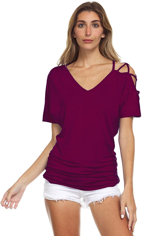 Inner Beauty T-Shirt for Women - Ladies Cold Shoulder, Short Sleeve, V-Neck Tee