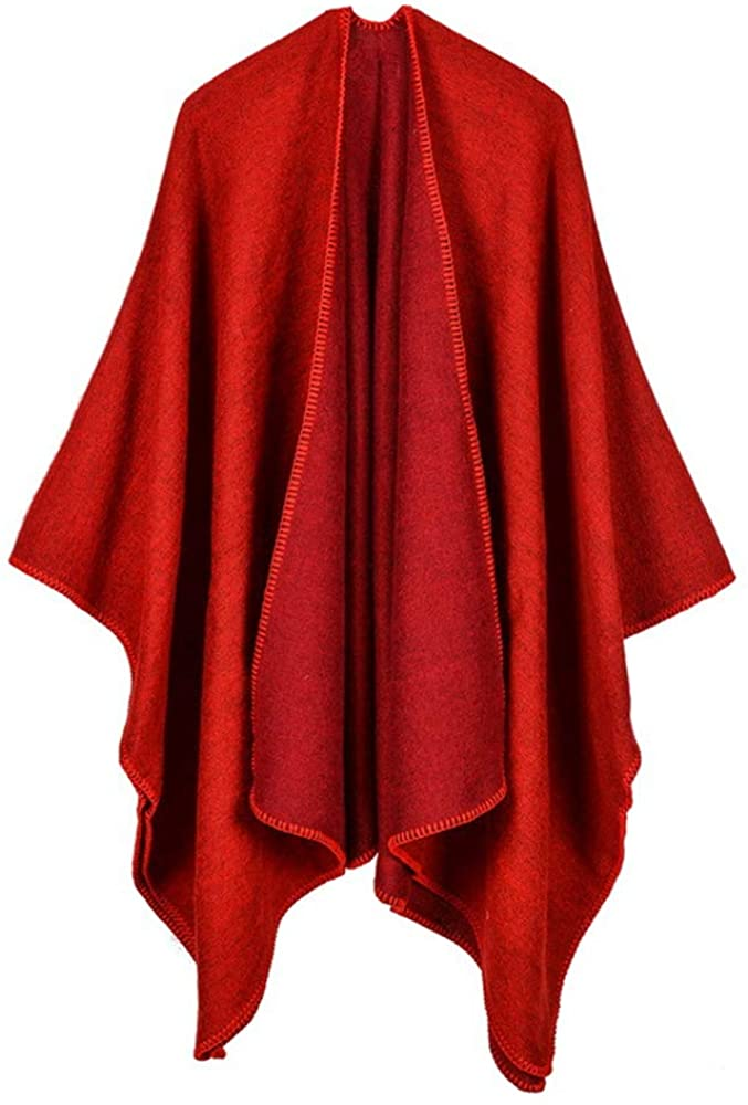 Women Two-tone Shawls Wrap Open Front Poncho Cape Oversized Blanket Poncho Cape