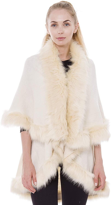 Janice Apparel Women's Winter Warm Open Front Solid Color Ruana Shawl Faux Fur Trim Poncho Vest Arm Hole Sweater