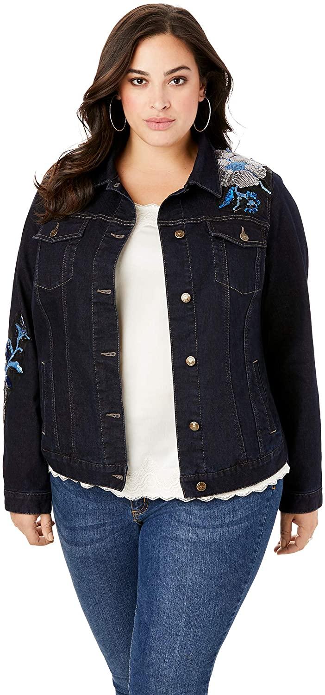 Roamans Women's Plus Size Statement Denim Jacket