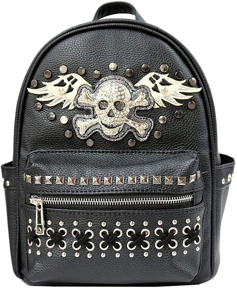 Western Women's Angel Wings Sugar Skull Concealed Carry Top Handle Backpack G46SK5