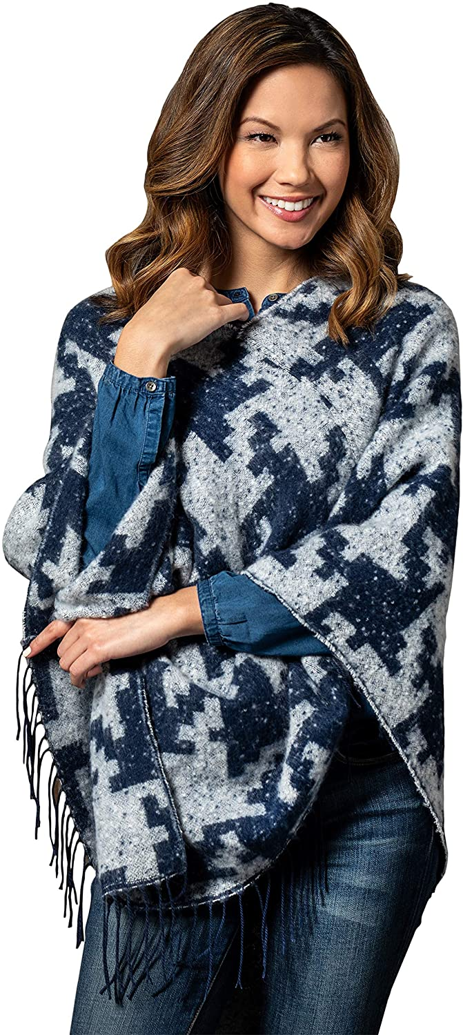 Houndstooth Navy Blue One Size Fits Most Polyester Fabric Pashmina Poncho Shawl