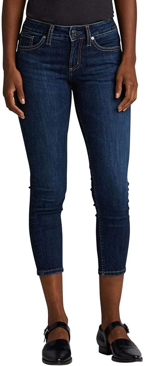 Silver Jeans Co. Women's Suki Curvy Fit Mid Rise Skinny Crop