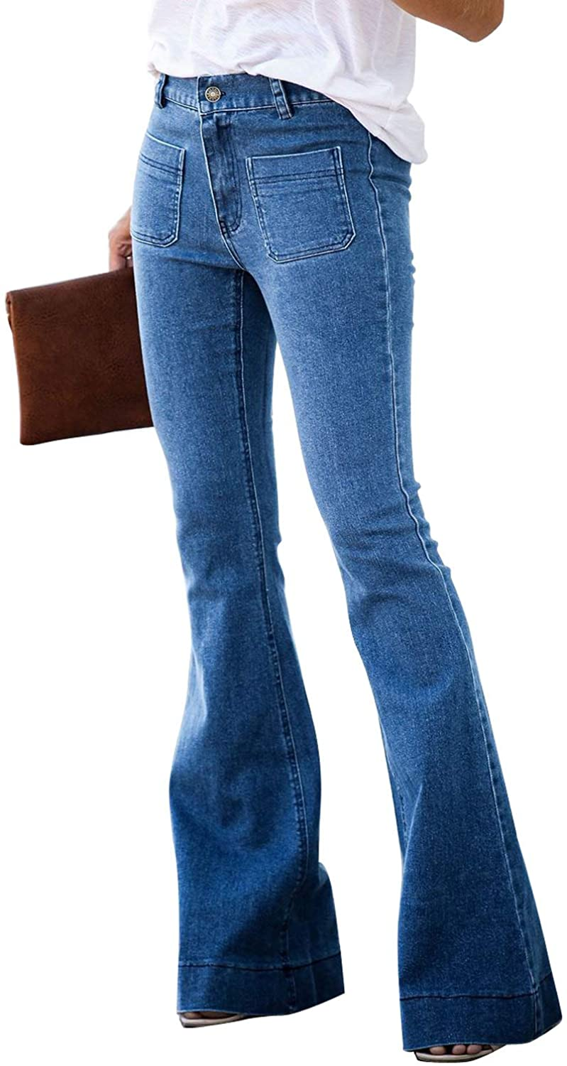 FARYSAYS Women's Casual Bell Bottom Pants Wide Leg Denim Trousers Flared Jean with Front Pockets