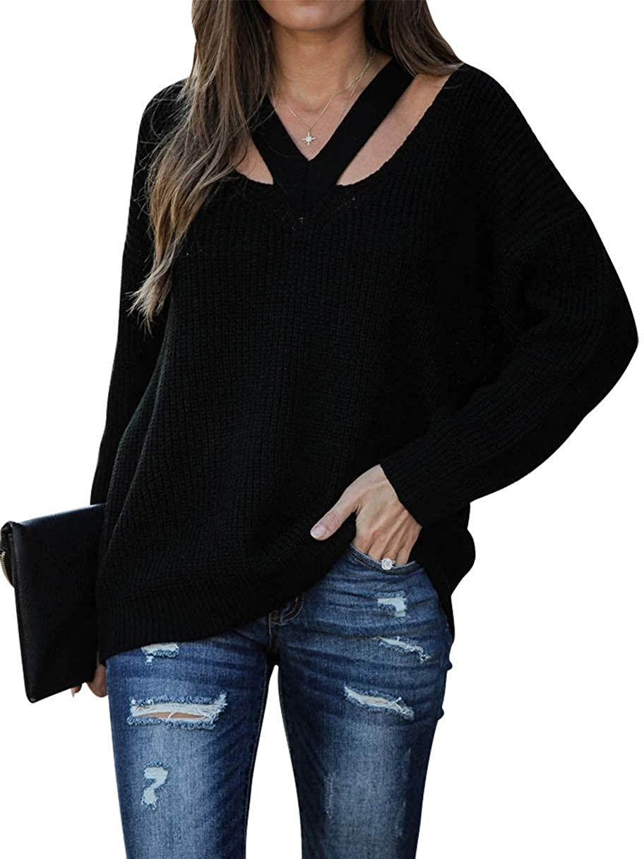 MILLCHIC Womens V Neck Off Shoulder Sweater Cutout Long Sleeve Casual Loose Oversized Knit Pullover Jumper Tops