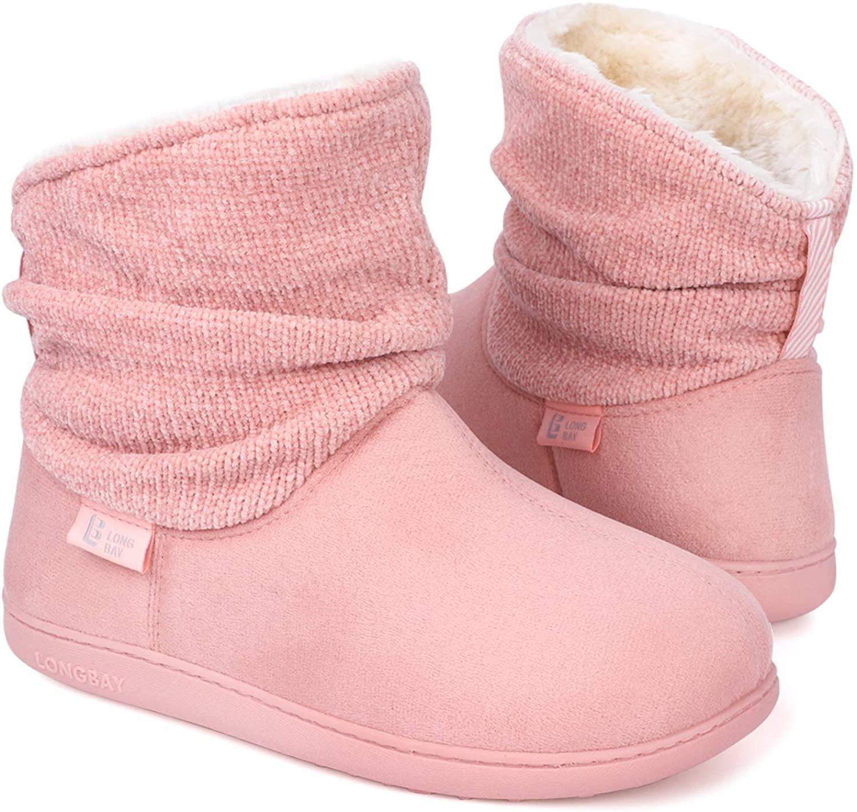 LongBay Women's Warm Chenille Knit Bootie Slippers Memory Foam Comfy Suede Fluffy Faux Fur Memory Foam Boots House Shoes