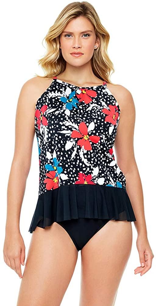 Penbrooke Women's Swimwear Celebration Mesh Bottom High Neck Pleated Soft Cup Tankini Top
