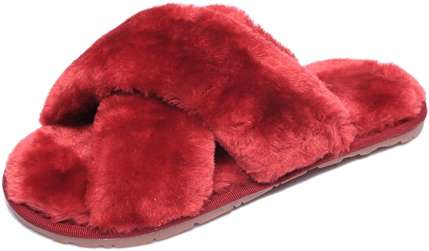 Women's Fluffy Plush Slippers Cross Band Slippers Faux Fur House Slippers Fashion Indoor or Outdoor Slippers
