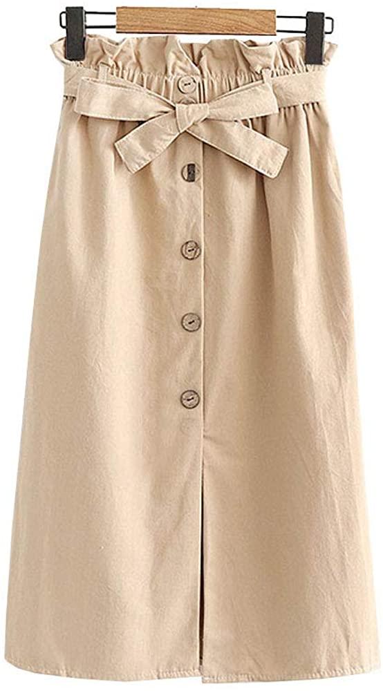 Allonly Women's A-Line High Waisted Button Front Slit Elastic Waist Midi Skirt with Waist Tie Knee Length