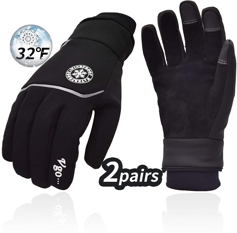 Vgo 2Pairs 32°F 3M Lined Ladies Deerskin Leather Winter Gloves(DB9708FW)