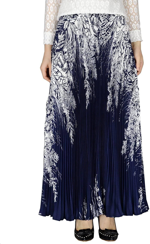 YSJERA Womens Long Maxi Skirt - 35.4 Floral Sunray Pleated Chiffon Bohemian Chic Full Skirts