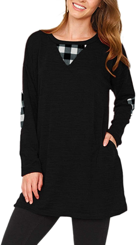 LaSuiveur Womens Crewneck Long Sleeve Loose Fit Pockets Tunic Tops