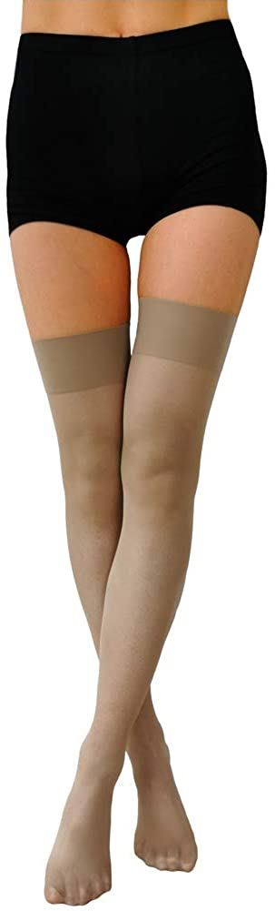 Women's Sheer Thigh-High Stay up Stockings Silicone Top Nylon Hosiery(15Denier)