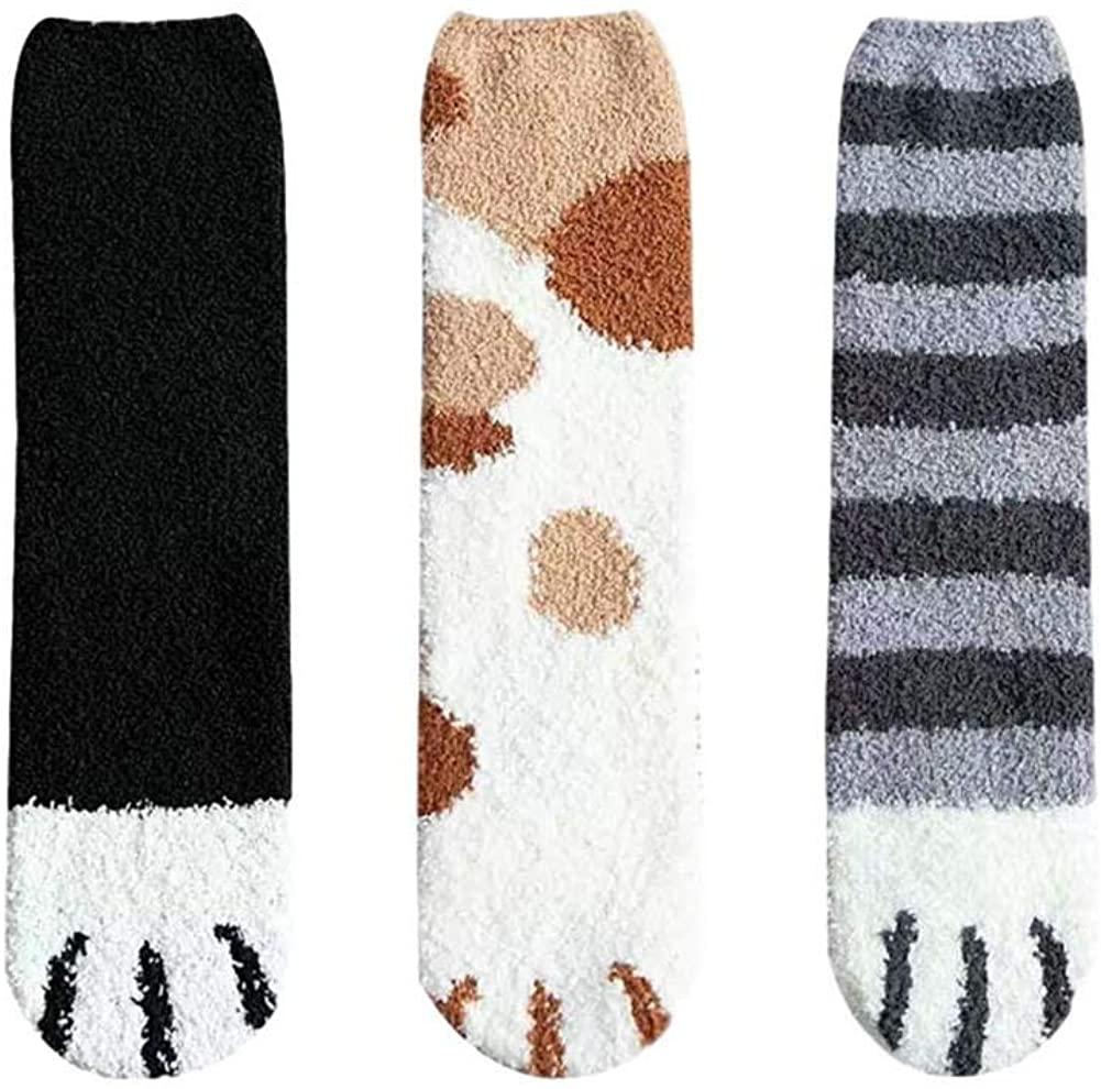 Cute Cat Claws Sleeping Socks 6 Pairs Women Fuzzy Fluffy Cozy Slipper Socks Winter Warm Plush Home Lovely Soft