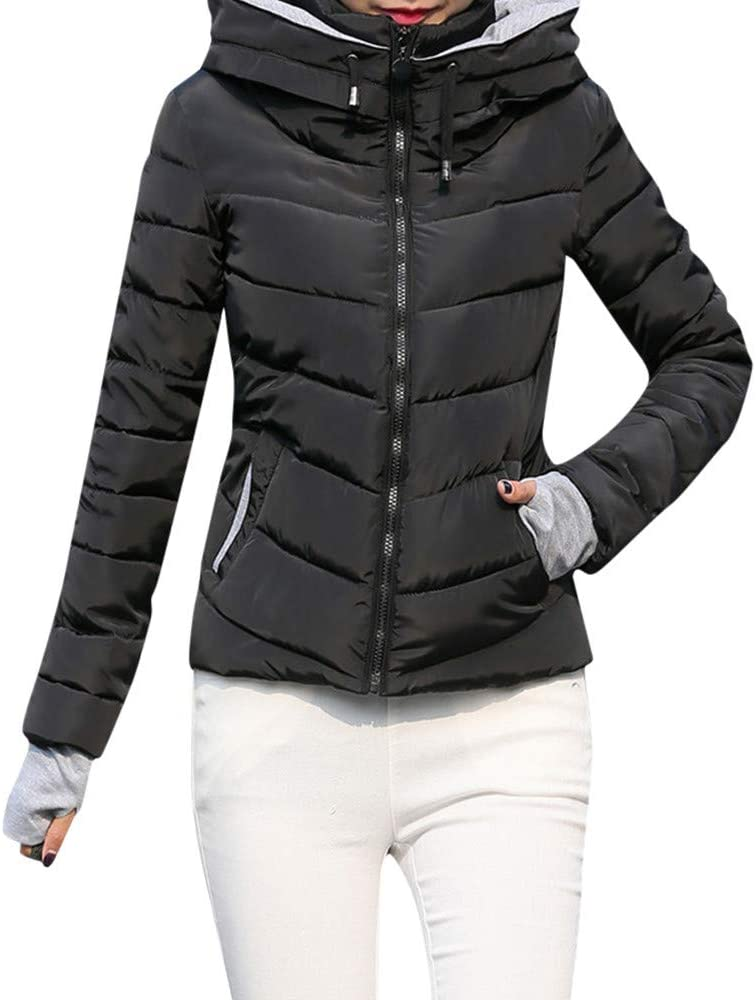 Women Thick Outerwear Hooded Coat Short Slim Cotton-Padded Jackets Coats Coats Winter Fall Clothes