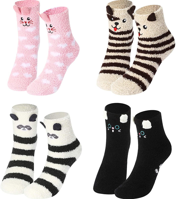 4 Pairs Women Fuzzy Socks Non-Slip Microfiber Winter Warm Socks Fluffy Soft Cute Animal Home Slipper Socks for Women Girls
