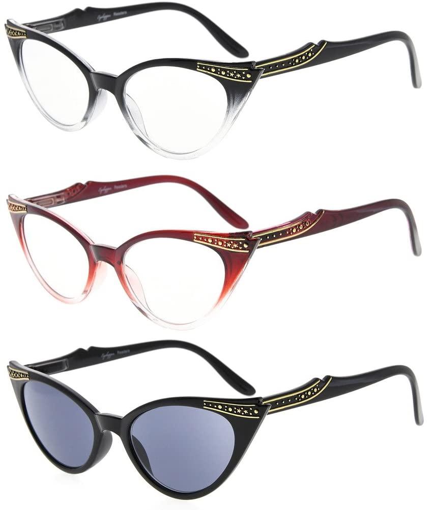 Eyekepper Womens 3 Pairs Reading Glasses Ladies' Vintage Cat Eye Readers, Include Sunshine Readers (Black Transparent/Red Transparent/Grey Lens, 1.25)