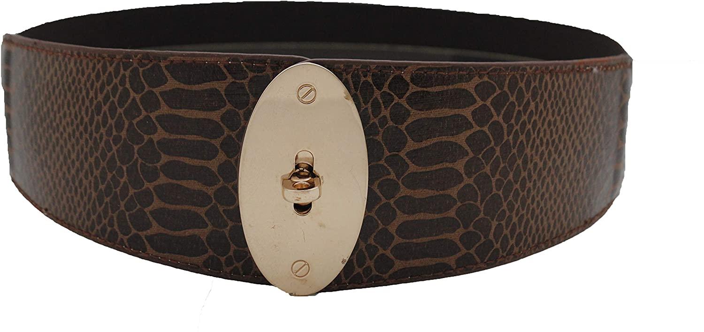 TFJ Women Fashion Elastic Belt Hip Waist Brown Faux Snake Gold Metal Buckle S M