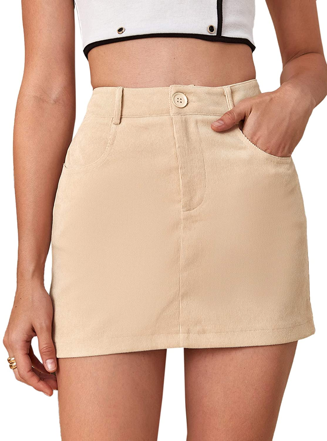 Milumia Women's Casual Button Front High Waist Corduroy Short Mini Skirt with Pockets