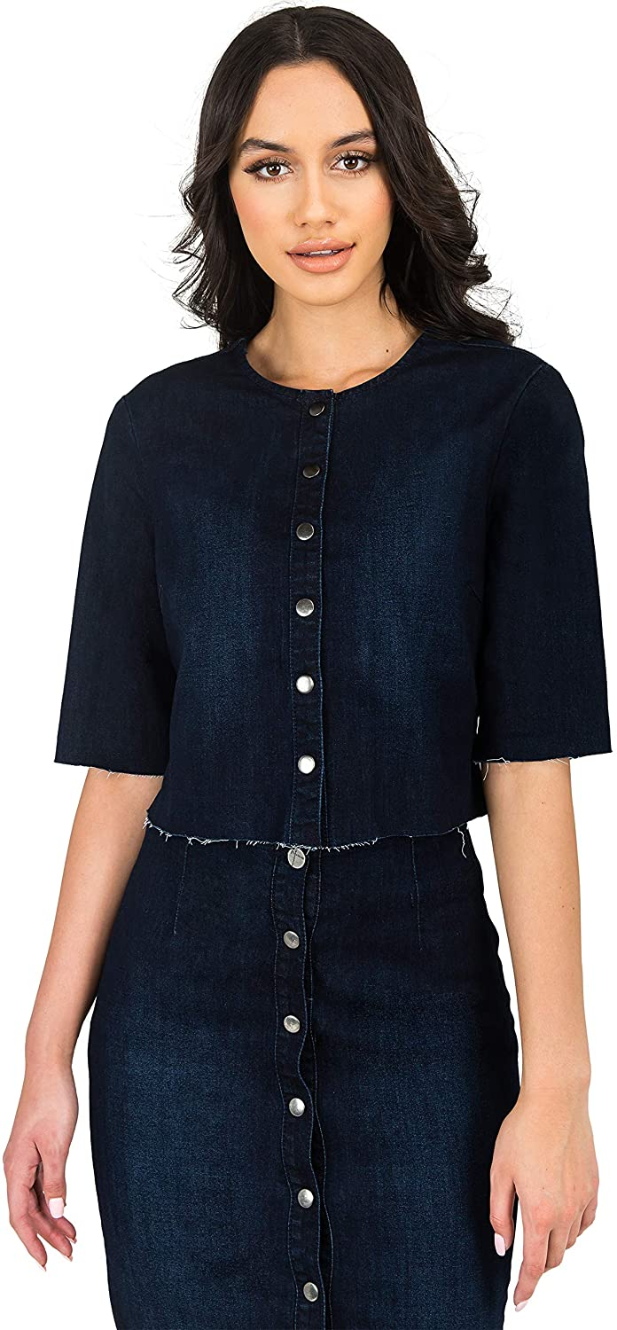 Standards & Practices Modern Women's Frayed Hem Cropped Collarless Jean Jacket