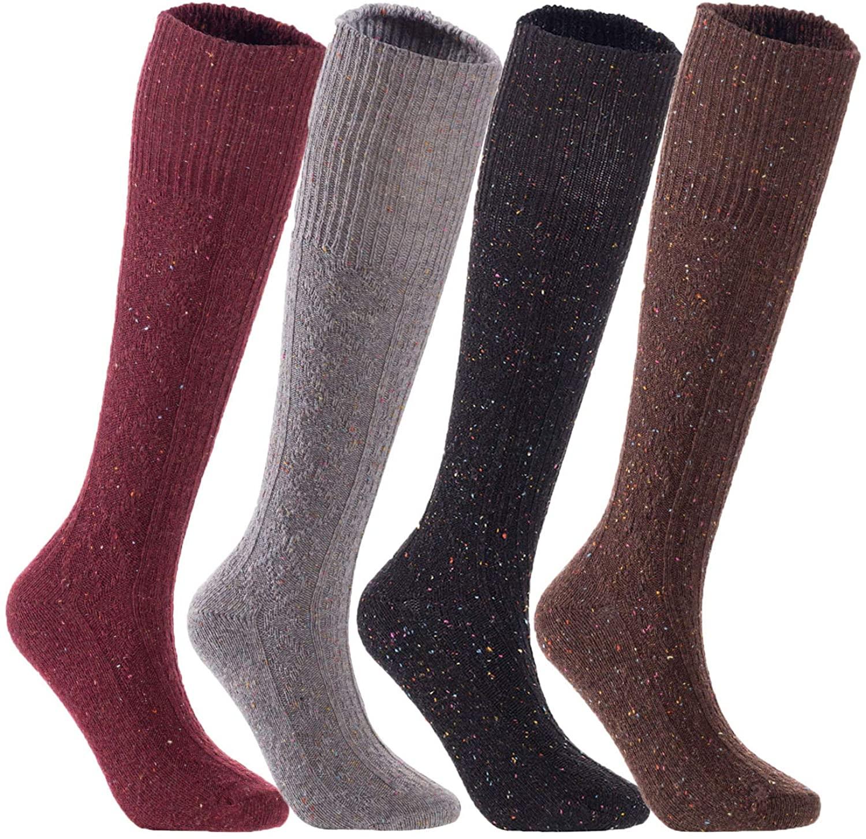 Lian LifeStyle Big Girl's Women's 4 pairs Knee High Wool Socks LWHR1412 Size 6-9