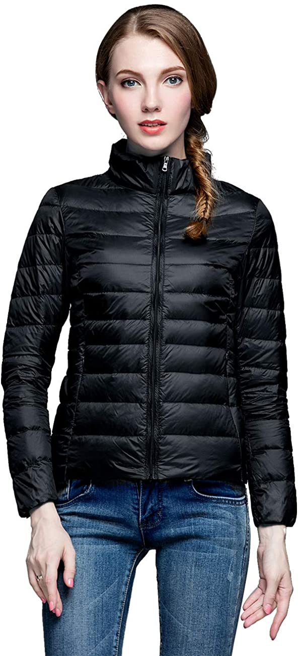 Camii Mia Womens Winter Packable Ultra Lightweight Water Resistant Puffer Short Down Jacket