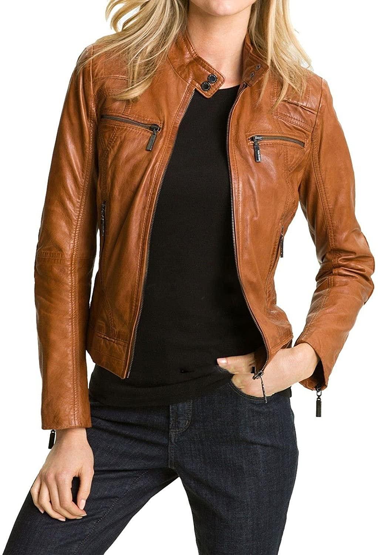 MARIYAM Leather Womens Leather Jacket Tan Slim Fit Biker Motorcycle Genuine Lambskin Coat
