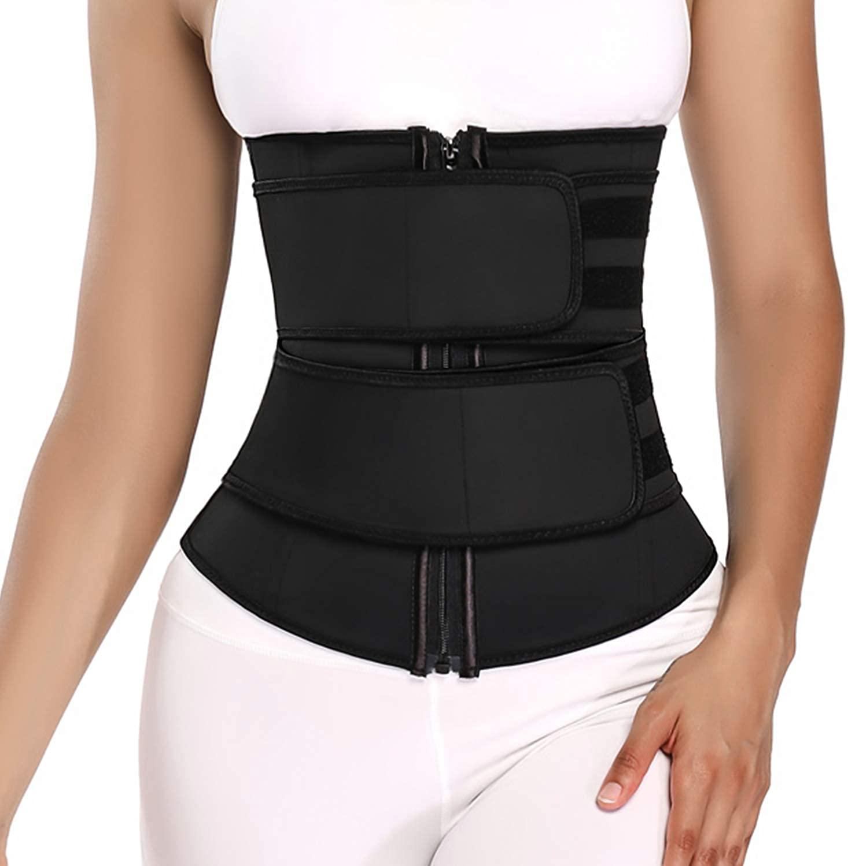 Corsenaan Latex Waist Trainer Belt for Women Weight Loss Sauna Sweat Slimming Belt Workout Sport Girdle with Zip