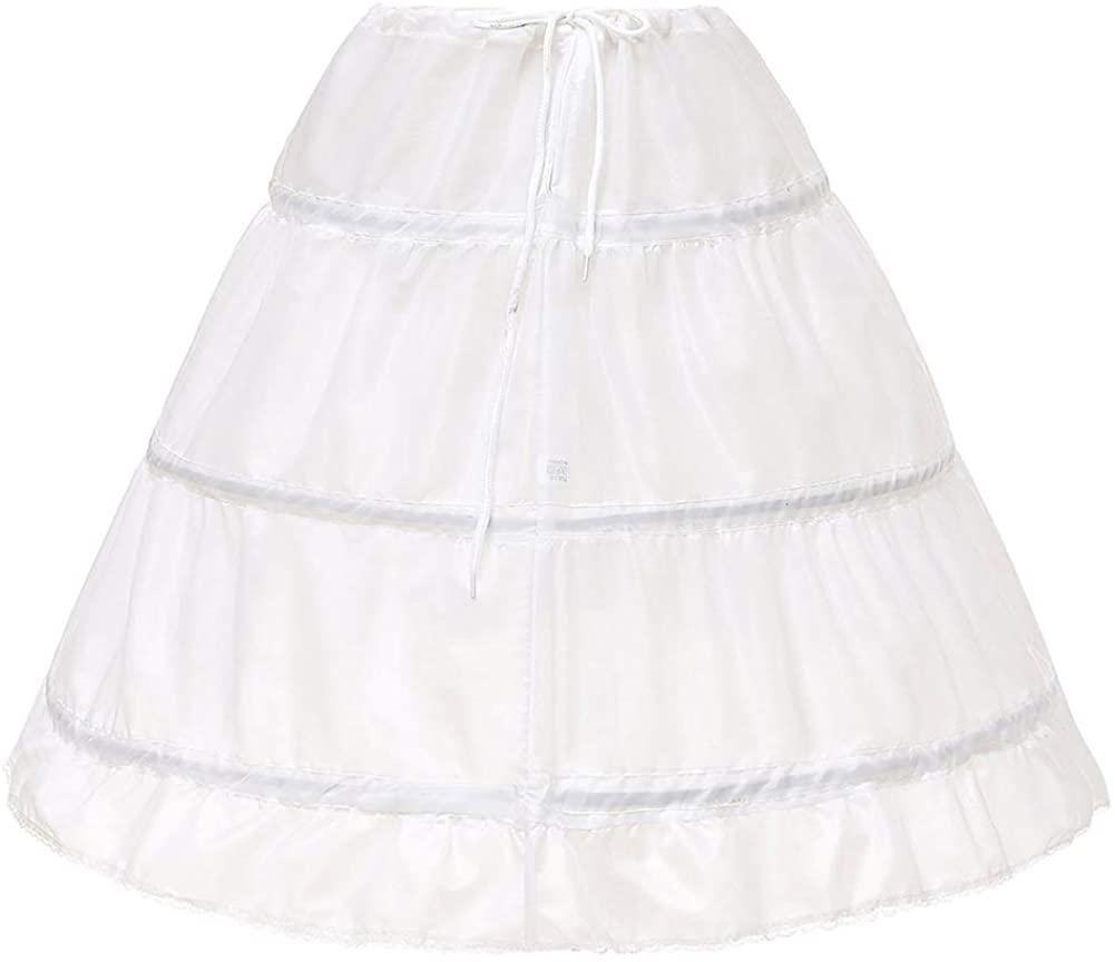No branded Girl's 3 Hoops Petticoat Full Silp Adjustable Crinoline Underskirt for Flower Girls