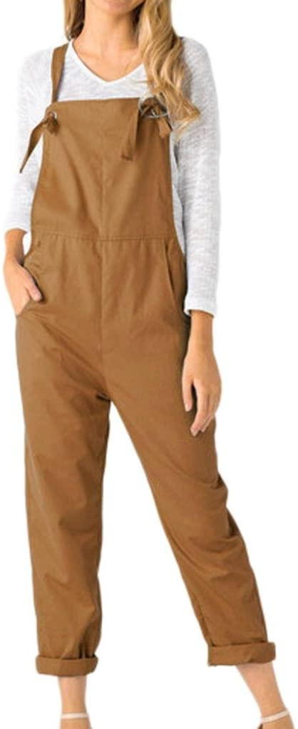 Women Overalls Jumpers Pockets Jumpsuits Pants Romper Long Loose Working Trousers Hemlock (L, Khaki)