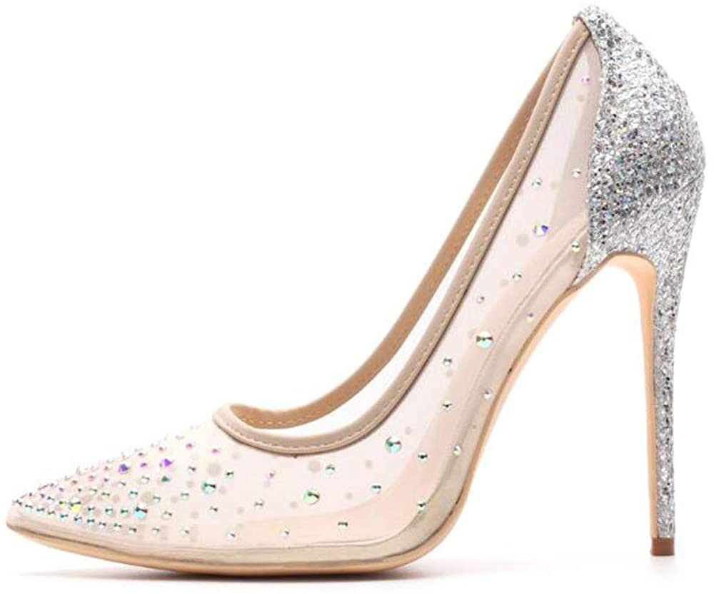 Miluoro Rhinestone Pointed Toe Silver High Heels Women Pumps Transparent Party Wedding Shoes
