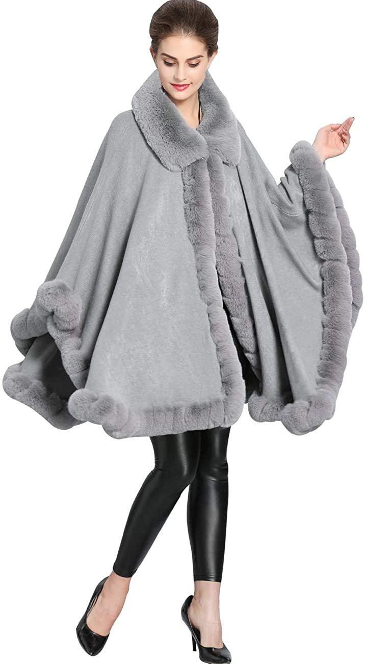 Aphratti Womens Wool Scarf Shawl Cape Coat with Luxury Faux Fur Collar