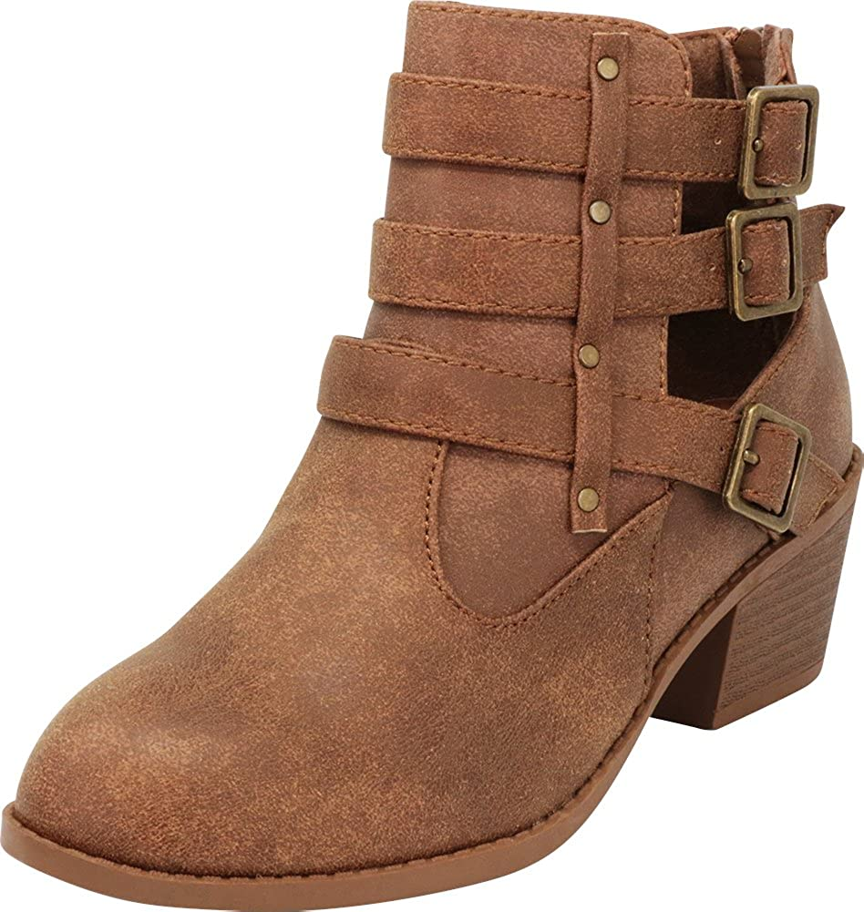 Cambridge Select Women's Western Triple Strap Buckle Side Cutout Chunky Stacked Block Heel Ankle Bootie