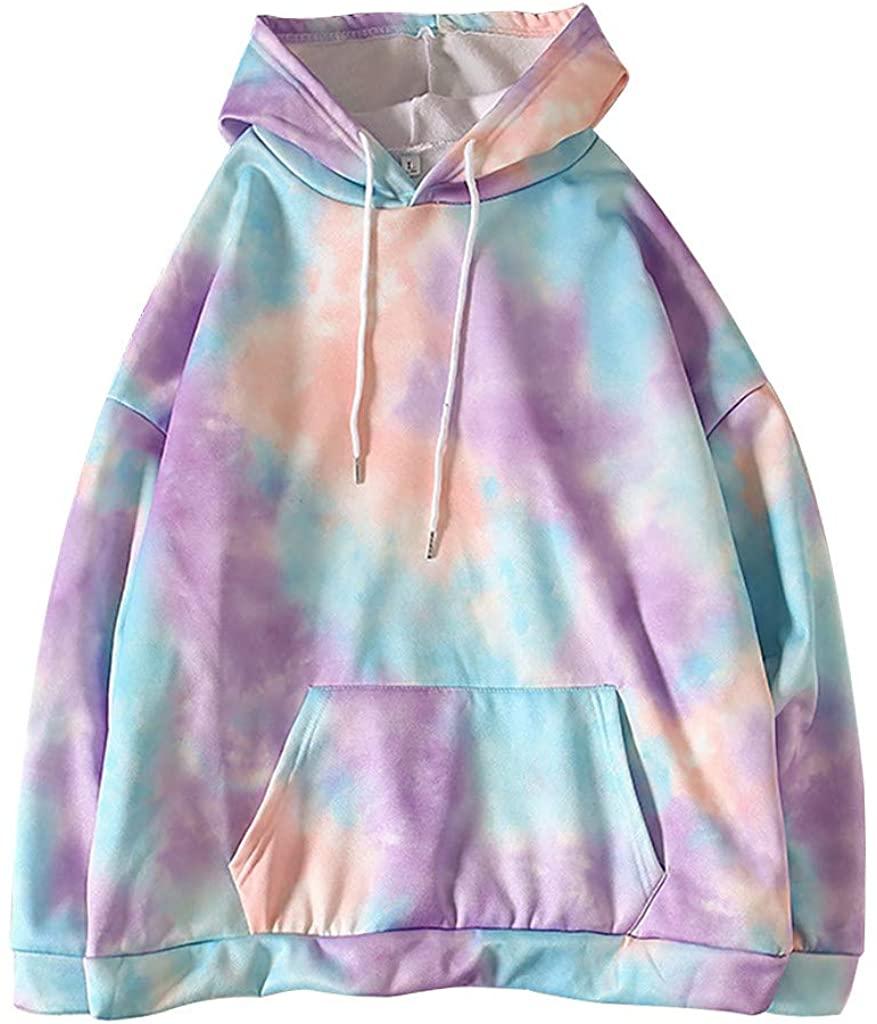 Gogoty Womens Fashion Tie-dye Printed Pullover Hoodies Sweatshirts Casual Long Sleeves Pocket Sweatshirts Tops