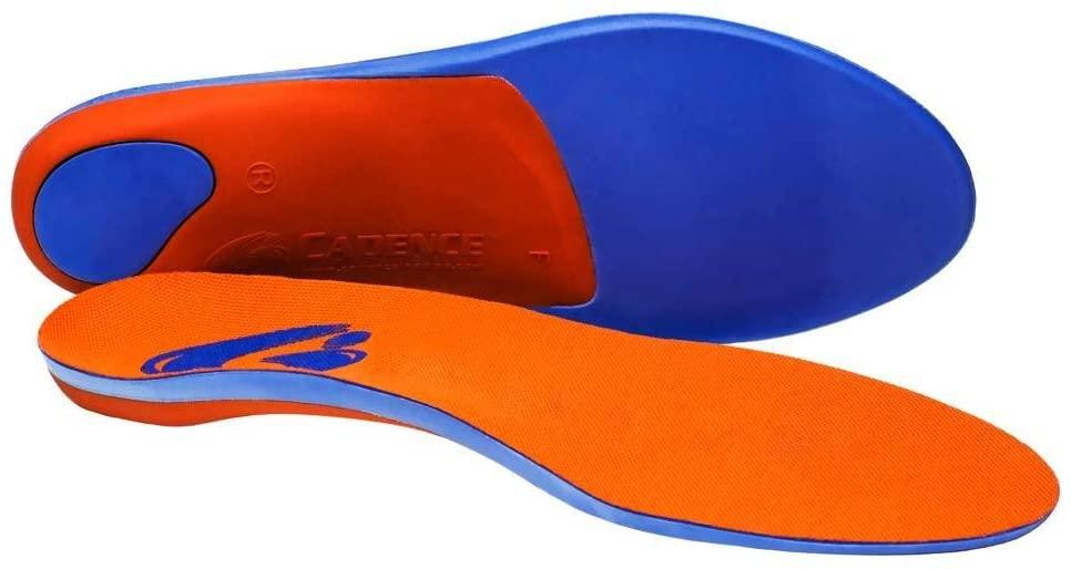 Cadence Insoles Orthotic Shoe Insoles (D) Men 6.5-7.5, Women 7.5-8.5, Orange