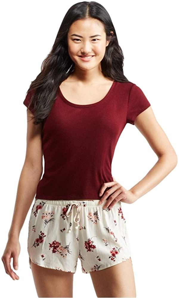 Aeropostale Womens Double Scoop Pajama Sleep T-Shirt, Red, XX-Large