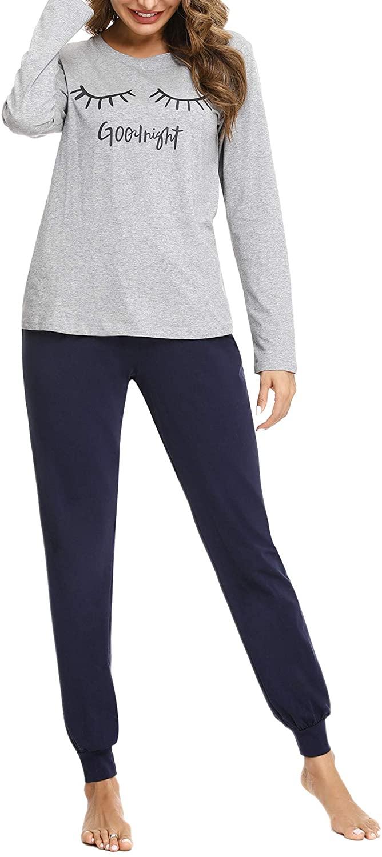 Sykooria Women's Pajama Set Letter Print Long Sleeve Top with Long Pants Paj Sets Loungewear Sleepwear